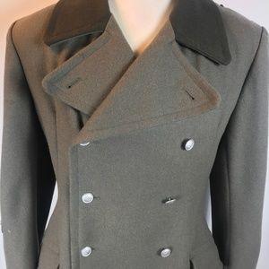 East German Military Wool Overcoat Trench Coat
